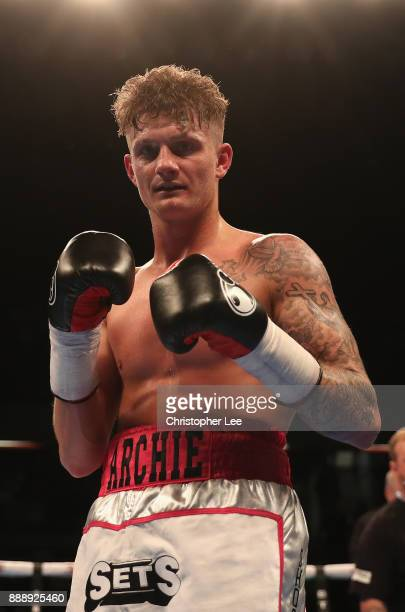 Archie Sharp celebrates his victory over Rafael Castillo in the International SuperFeatherweight contest at Copper Box Arena on December 9 2017 in...