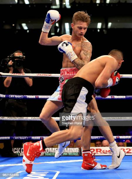 Archie Sharp in action against Lester Cantillano during their SuperFeatherweight contest fight at The O2 Arena on June 23 2018 in London England