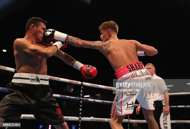 Archie Sharp in action as he beats Rafael Castillo in the International SuperFeatherweight contest at Copper Box Arena on December 9 2017 in London...