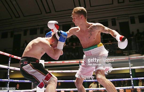 Archie Sharp lands a right on Joe Beadon during the Lightweight contest between Archie Sharp and Joe Beadon at York Hall on March 25 2016 in London...