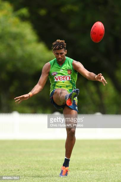 Archie Smith kicks during the Brisbane Lions AFL preseason training session at Yeronga on December 11 2017 in Brisbane Australia