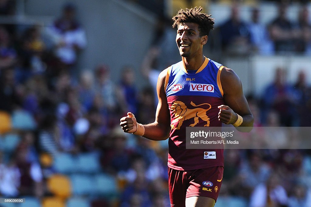 Archie Smith of the Lions celebrates kicking a goal during the round 21 AFL match between the Brisbane Lions and the Carlton Blues at The Gabba on August 13, 2016 in Brisbane, Australia.