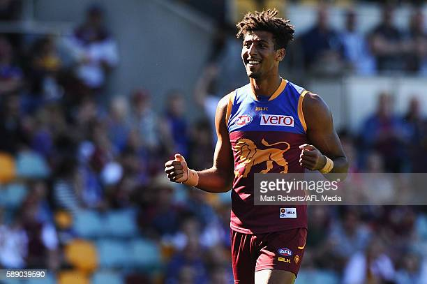 Archie Smith of the Lions celebrates kicking a goal during the round 21 AFL match between the Brisbane Lions and the Carlton Blues at The Gabba on...
