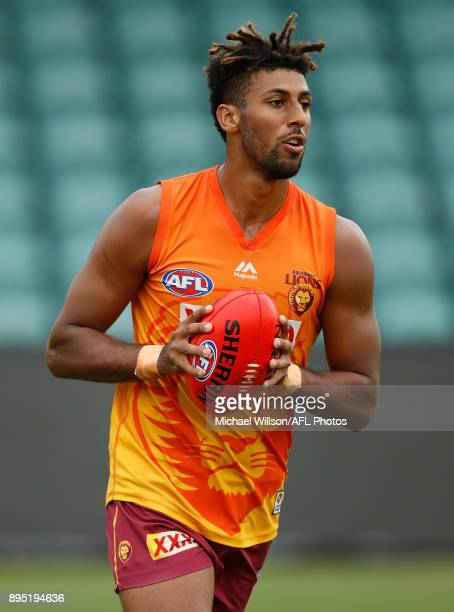 Archie Smith of the Lions in action during the Brisbane Lions AFL preseason training session at University of Tasmania Stadium on December 19 2017 in...