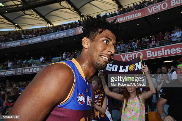 Archie Smith of the Lions reacts after the round 21 AFL match between the Brisbane Lions and the Carlton Blues at The Gabba on August 13 2016 in...