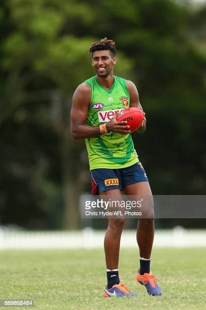 Archie Smith smiles during the Brisbane Lions AFL preseason training session at Yeronga on December 11 2017 in Brisbane Australia