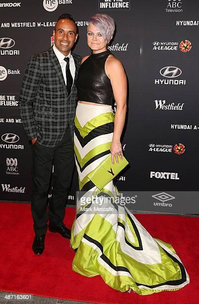 Archie Thompson and Emmy Thompson arrive at the FFA ALeague WLeague Awards Night at Royal Randwick Racecourse on April 28 2014 in Sydney Australia