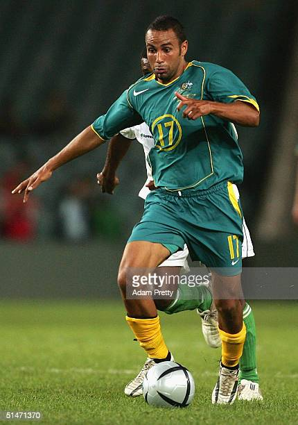 Archie Thompson of Australia iin action during the Oceania Nations Cup and the Confederations Cup last qualifying match between Australian Socceros...