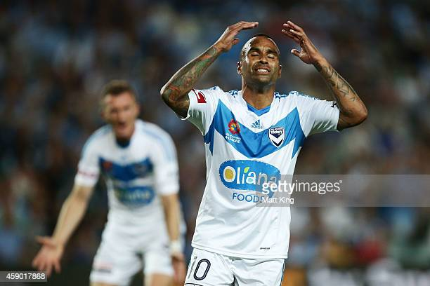 Archie Thompson of Melbourne Victory reacts after a missed shot on goal during the round six ALeague match between Sydney FC and Melbourne Victory at...