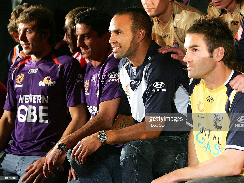 Archie Thompson of the Melbourne Victory (C) poses during the 2007/2008 A-League Season Launch at The Entertainment Quarter on August 20, 2007 in Sydney, Australia.