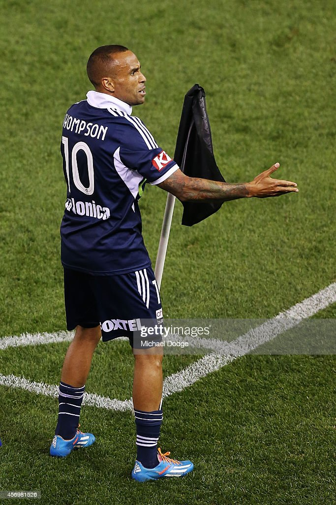 Archie Thompson of the Victory celebrates a goal during the round one A-League match between Melbourne Victory and the Western Sydney Wanderers at Etihad Stadium on October 10, 2014 in Melbourne, Australia.
