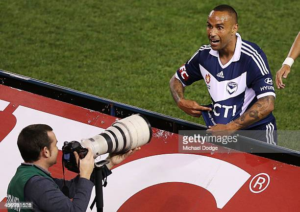 Archie Thompson of the Victory celebrates a goal during the round one ALeague match between Melbourne Victory and the Western Sydney Wanderers at...
