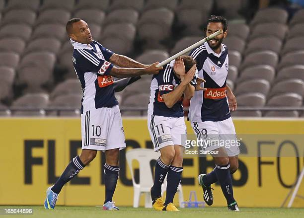 Archie Thompson of the Victory celebrates after scoring his teams second goal in extra time during the ALeague Elimination final match between the...