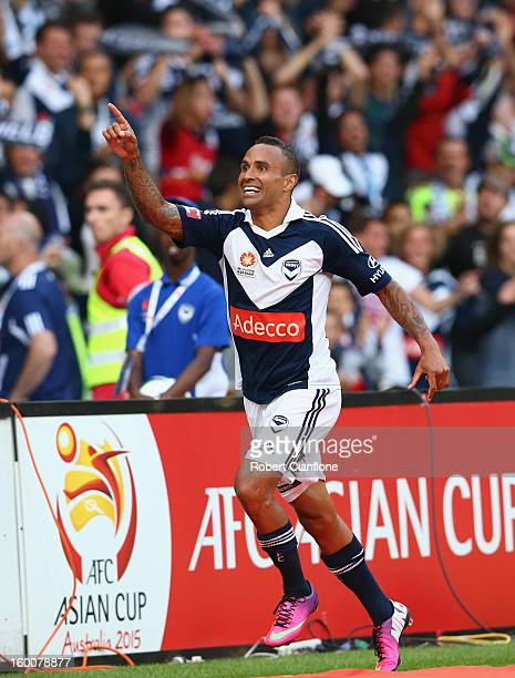 Archie Thompson of the Victory celebrates his goal during the round 18 A-League match between the Melbourne Victory and Sydney FC at AAMI Park on...