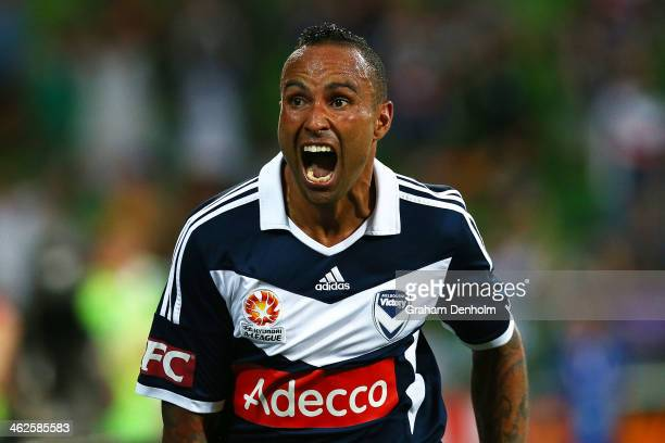 Archie Thompson of the Victory celebrates his goal during the round 19 ALeague match between Melbourne Victory and the Western Sydney Wanderers at...