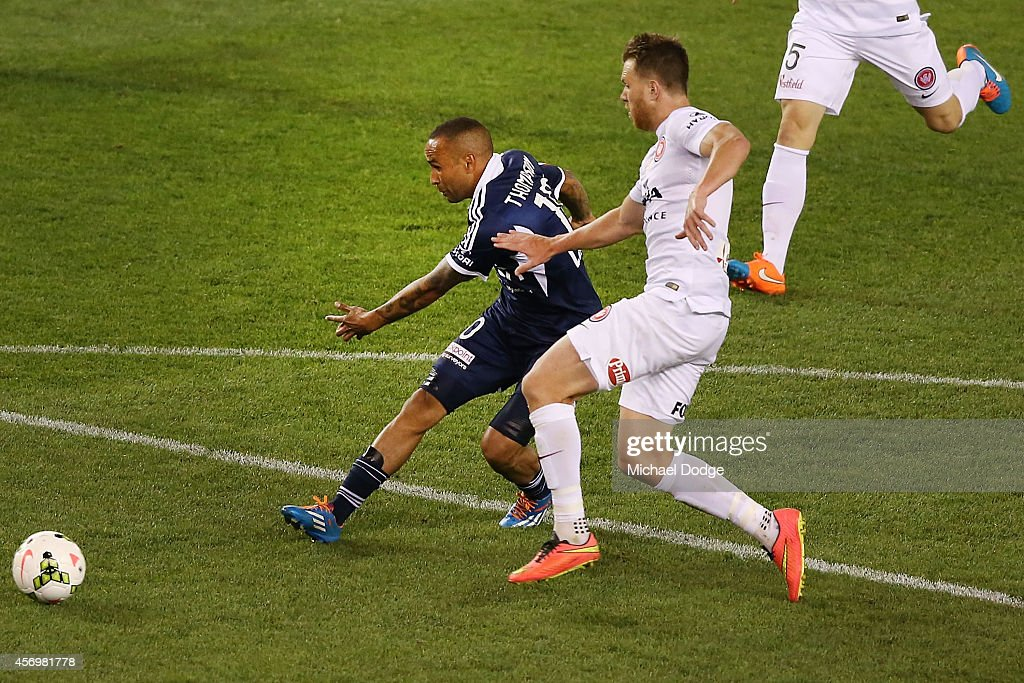 Archie Thompson of the Victory kicks a goal during the round one A-League match between Melbourne Victory and the Western Sydney Wanderers at Etihad Stadium on October 10, 2014 in Melbourne, Australia.