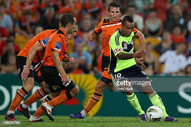 Archie Thompson of the Victory kicks during the round 20 ALeague match between the Brisbane Roar and the Melbourne Victory at Suncorp Stadium on...