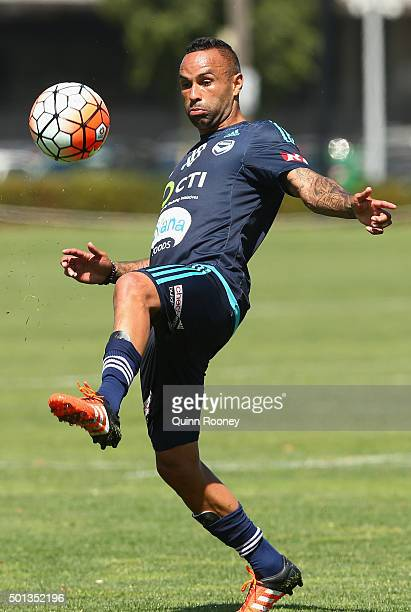 Archie Thompson of the Victory kicks the ball during a Melbourne Victory ALeague training session at Gosch's Paddock on December 15 2015 in Melbourne...