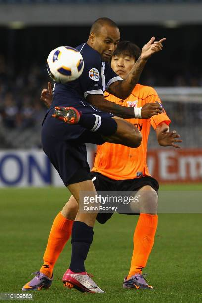 Archie Thompson of the Victory kicks the ball during the AFC Champions League Group E match between the Melbourne Victory and Jeju United at Etihad...
