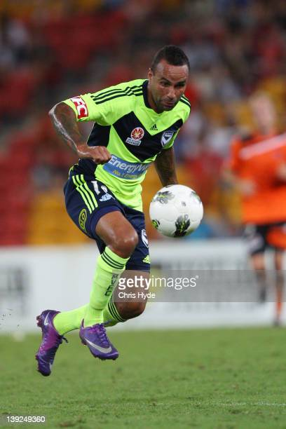 Archie Thompson of the Victory kicks the ball during the round 20 ALeague match between the Brisbane Roar and the Melbourne Victory at Suncorp...