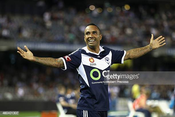 Archie Thompson of Victory celebrates after scoring a goal during the round 11 A-League match between Melbourne Victory and Sydney FC at Etihad...