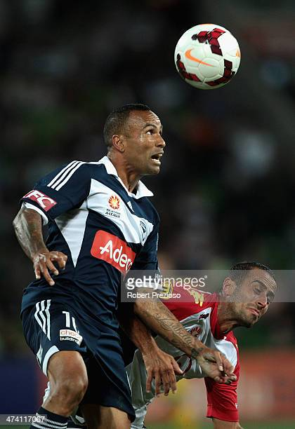 Archie Thompson of Victory heads the ball during the round 20 ALeague match between Melbourne Victory and Adelaide United at AAMI Park on February 22...