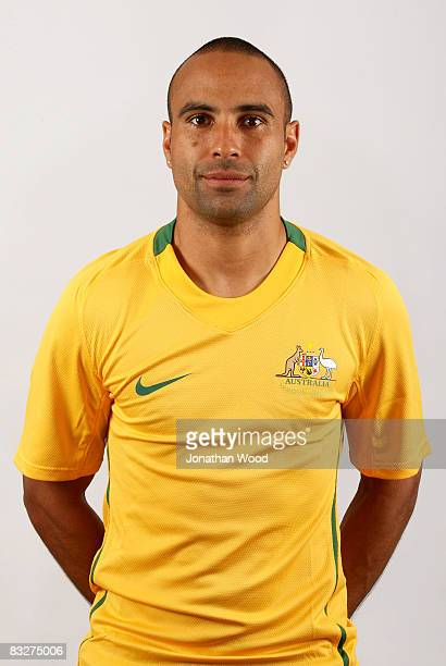 Archie Thompson poses during the Australian Socceroos portrait session at the Sofitel Grand Central on October 13 2008 in Brisbane Australia