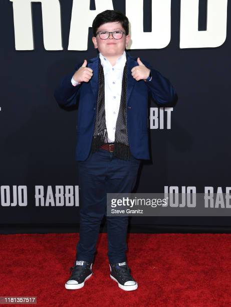 Archie Yates arrives at the Premiere Of Fox Searchlights' Jojo Rabbit at Post 43 on October 15 2019 in Los Angeles California