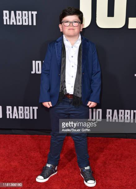 Archie Yates attends the Premiere of Fox Searchlights' Jojo Rabbit at Post 43 on October 15 2019 in Los Angeles California