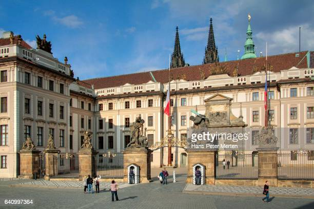 Archiespiscopal Palace with first Castle Courtyard at Hradcany Castle in Prague, Central Bohemia, Czech Republic