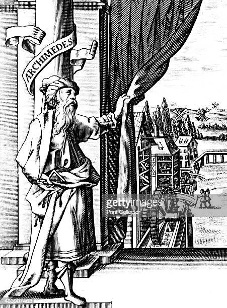 Archimedes Ancient Greek mathematician and inventor Archimedes drawing back a curtain to reveal various mechanical devices such as waterwheels and...