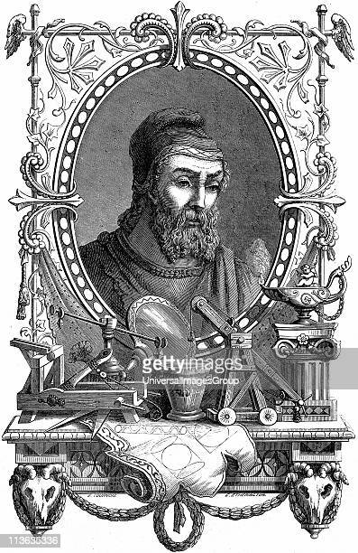 Archimedes Ancient Greek mathematician and inventor Artist's impression of him surrounded by his discoveries and inventions Engraving published Paris...