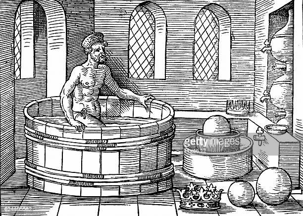 Archimedes Ancient Greek mathematician and inventor in his bath Discovered formulae for calculating areas and volumes of plane and solid figures...