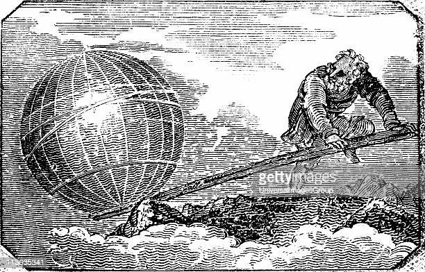 Archimedes Ancient Greek mathematician and inventor reputed to have said Give me a lever and I will move the Earth Woodcut of Archimedes putting...