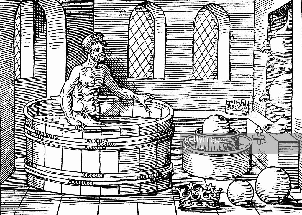 Archimedes bathing and discovering upthrust : Stock Photo