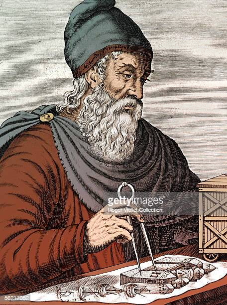 Archimedes Greek scholarly Engraving BNF Colourized photo