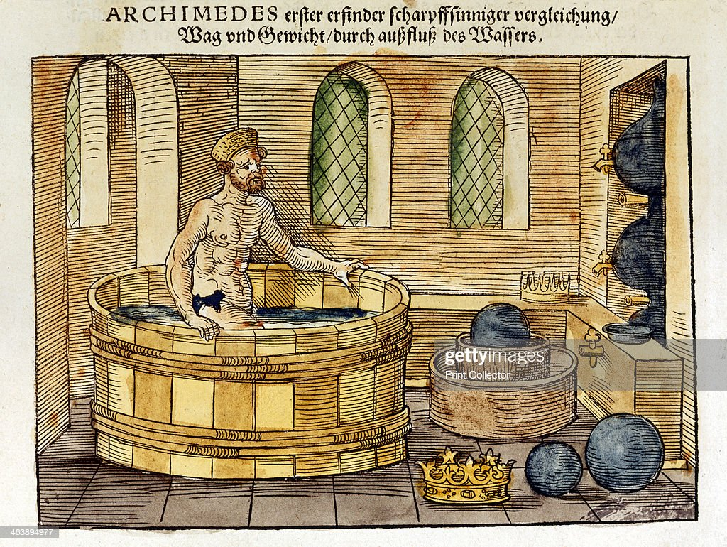 Archimedes in his bath, 1547. : News Photo