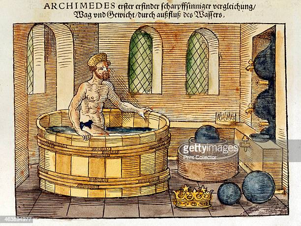 Archimedes in his bath 1547 Sixteenthcentury handcoloured woodcut of the Greek mathematician and inventor who discovered formulae for calculating...