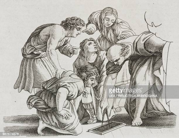 Archimedes intent on studying geometry engraving from The School of Athens by Raphael from L'album giornale letterario e di belle arti January 19...