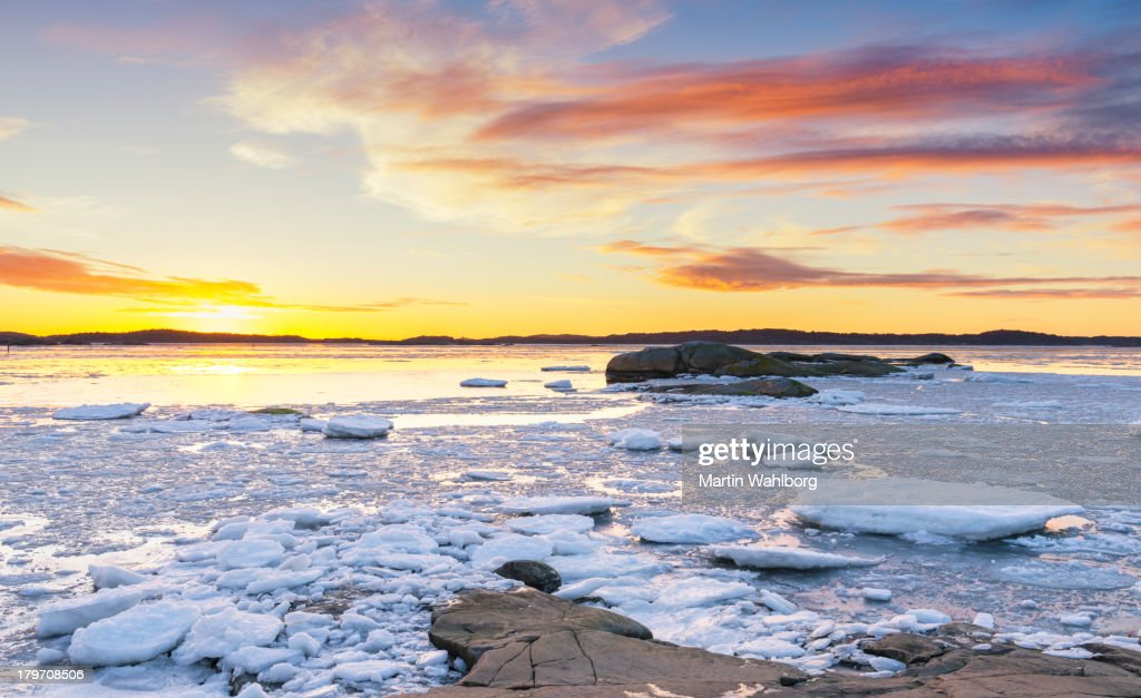 Archipelago of Gothenburg in winter : Stock Photo