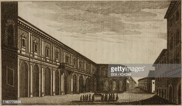 Archispedale of Santa Maria Nuova Florence Italy engraving from Guida della citta di Firenze ornata di pianta e vedute Florence