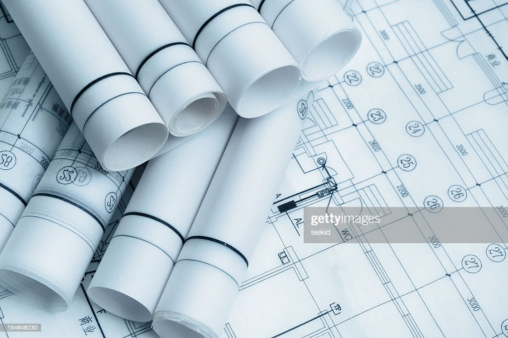 Architechure Bluepint Document and Paperwork For Construction Industry : Stock Photo
