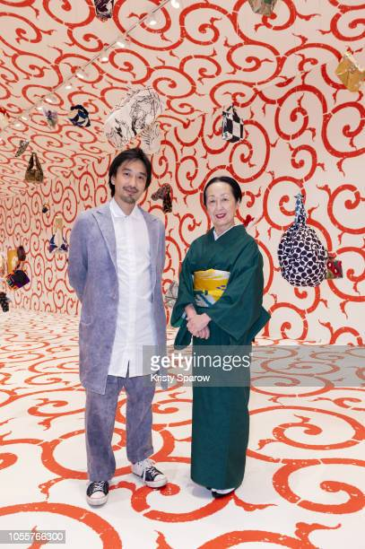 Architect and Artistic Director of the Furoshiki Paris project Tsuyoshi Tane and Artist Setsuko Klossowska de Rola poses during the Furoshiki Paris...