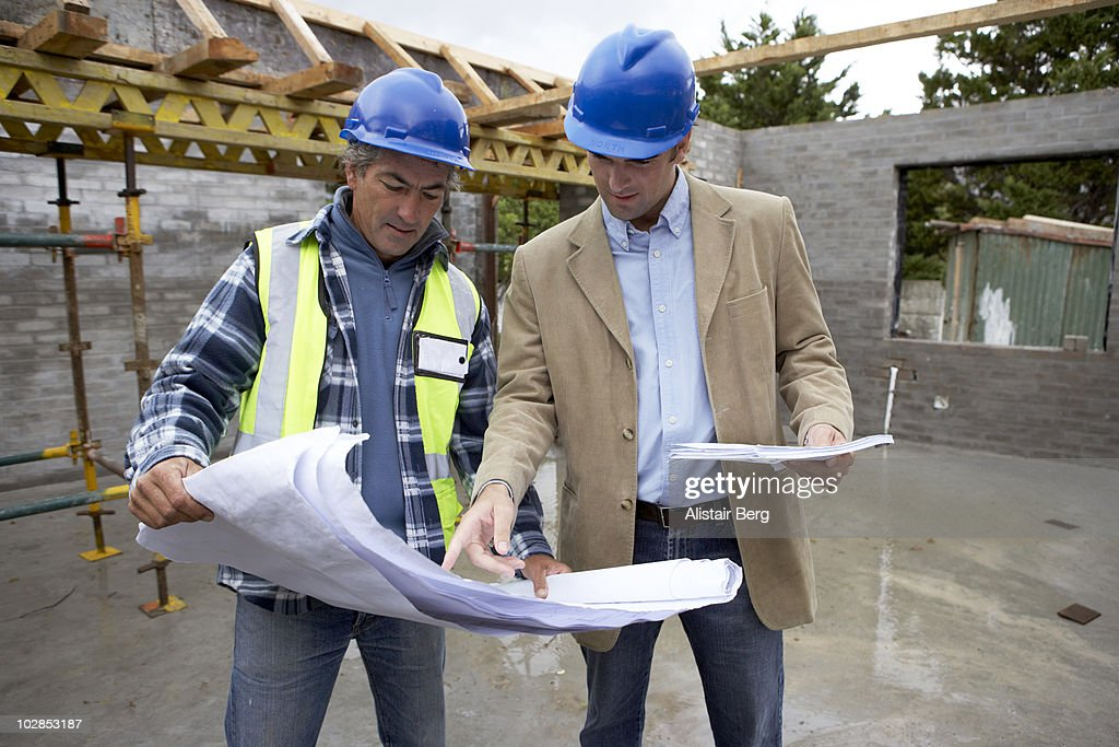 Superior ... Nice Architect Builder #7: Architect And Builder Looking At Plans :  Stock Photo ...