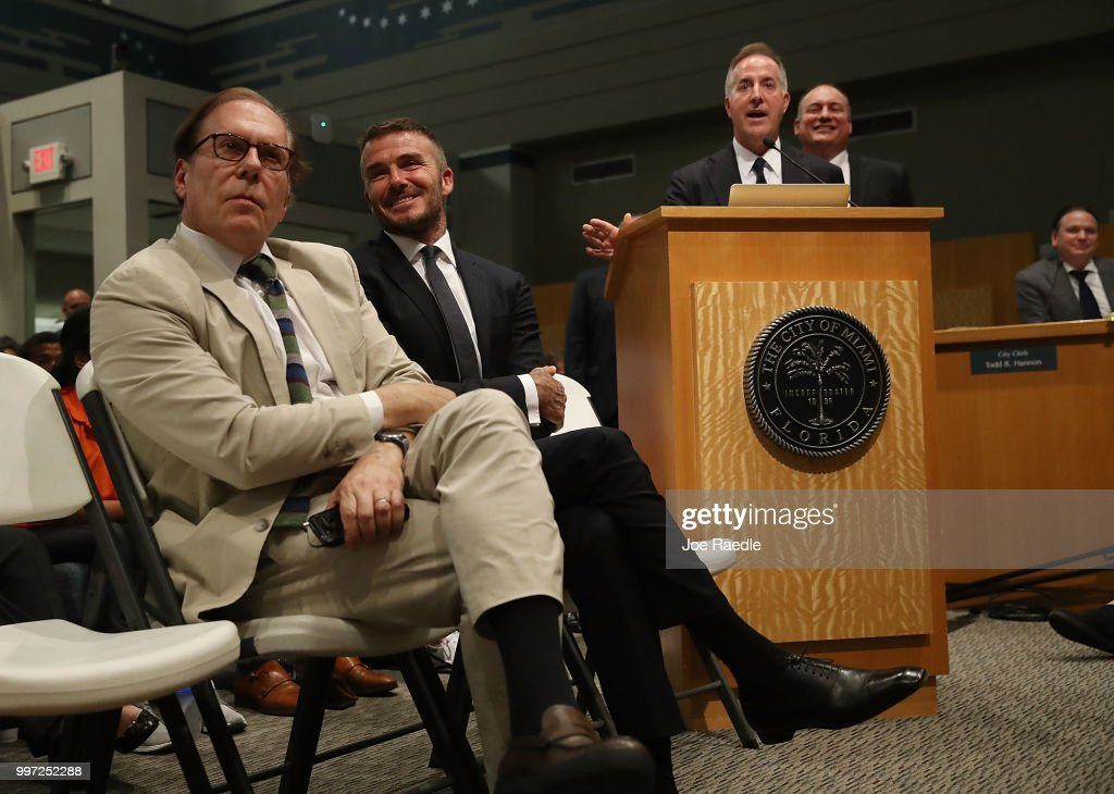 Architect Bernardo Fort-Brescia, David Beckham, Jorge Mas and Richard Perez (L-R) attend a pubic hearing at the Miami City Hall about building a Major League soccer stadium on a public golf course on July 12, 2018 in Miami, Florida. Mr. Beckham and his partners attended the meeting at city hall during a public hearing in their efforts to build a Major League Soccer stadium in the City of Miami for their professional soccer team.