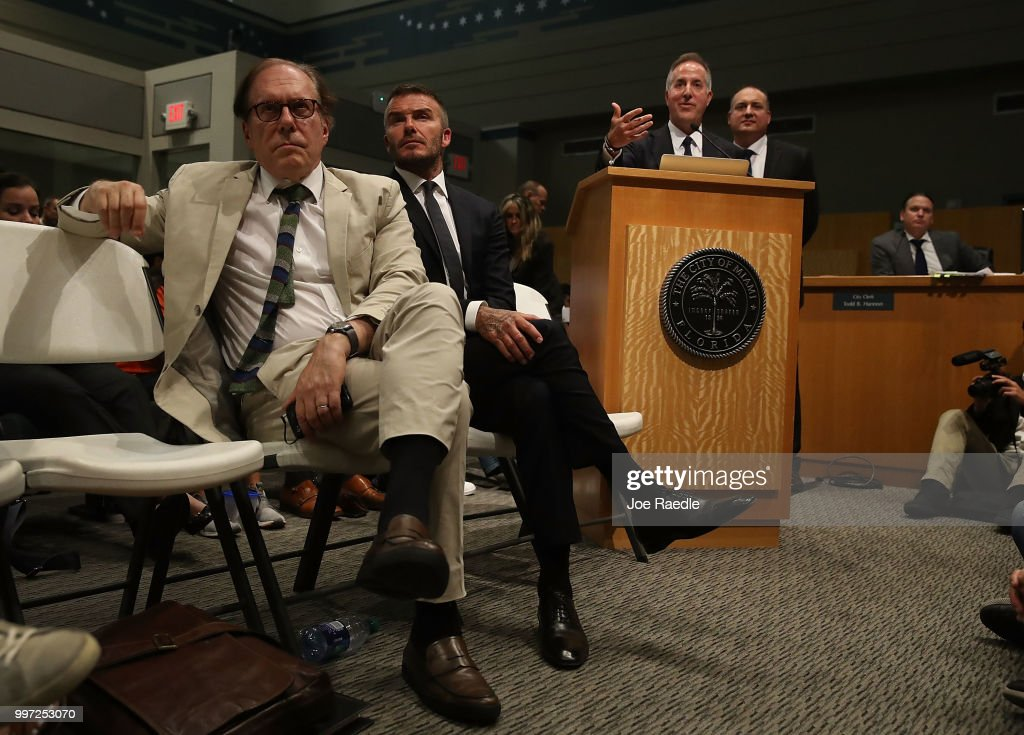 Architect Bernardo Fort-Brescia, David Beckham, Jorge Mas and Richard Perez (L-R) attend a pubic hearing at the Miami City Hall about building a Major League soccer stadium on a public golf course on July 12, 2018 in Miami, Florida. Mr. Beckham and his partners attended the meeting at city hall in their efforts to build a Major League Soccer stadium in the City of Miami for their professional soccer team.