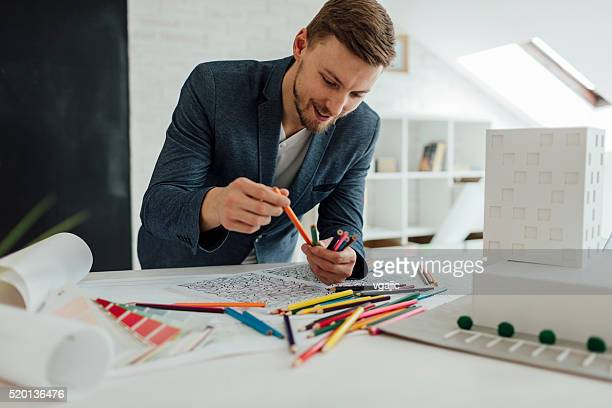 Architect Coloring Book In His Office.