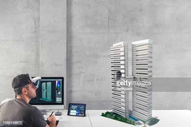 Architect create new building exterior design