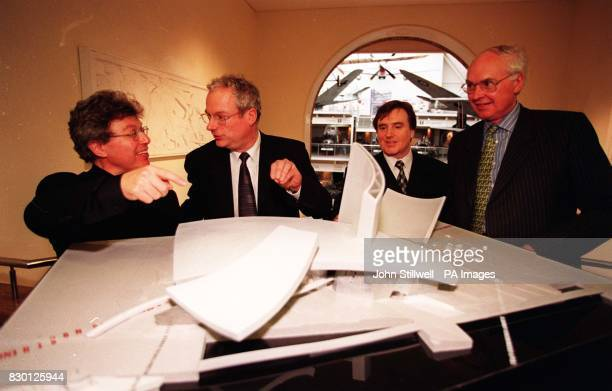 Architect Daniel Libeskind Culture Secretary Chris Smith David Acton and Professor Robert O'Neill look at a model of the proposed northern branch of...