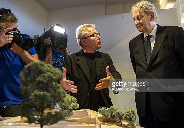 Architect Daniel Libeskind presents, in the name of the Dutch Auschwitz Committee, the scale model of the Names Monument in memory of the Holocaust...